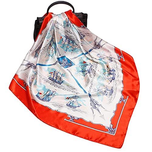 XUEXIU Nuevas Damas Cuadradas Grandes Seda Bufanda De 90 Cm Holiday Protector Solar Impreso Bufanda Chal (Color : 3)