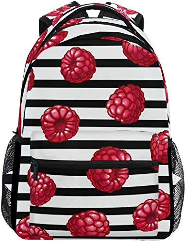 WKLNM Rucksäcke Red Mulberry Black White Stripe Casual Backpack Student School Bag Travel Hiking Camping Laptop Daypack