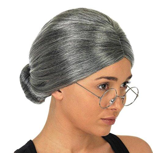 Coloré(TM) Perruque wig Vieille dame grand-mère granny gris perruque chignon cheveux grande mère costume déguisé