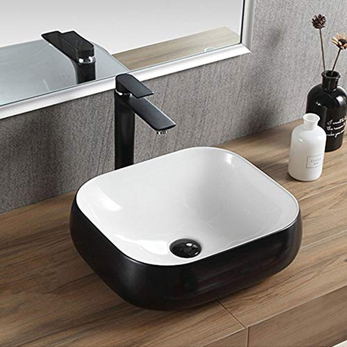 Check Out This Vessel Sinks Bathroom Vessel Vanity Sink Art Basin Above Counter Vessel Sink for Cabinet Lavatory Vanity Bathroom Sink (Color : Black, Size : 45x40x15cm)