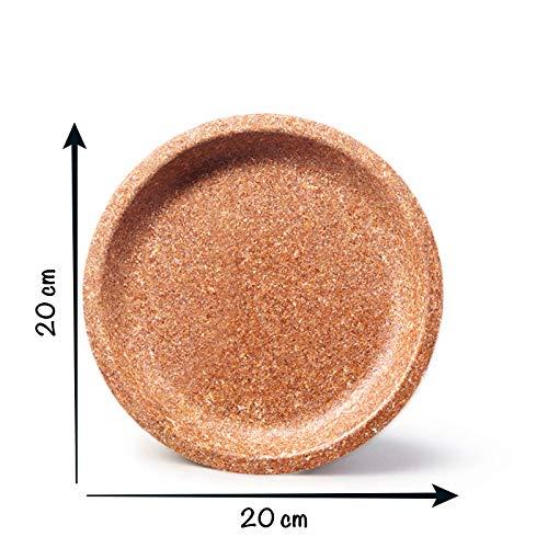 ECOMOLI Hohe Qualität Geschirr aus Weizenkleie | 20 cm 50 STK. Teller Bio-Einweg | Einweggeschirr aus biologischem Anbau | natürlich - essbar | Made in EU | biologisch abbaubare Küchenutensilien