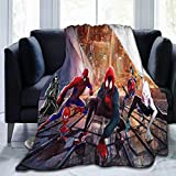 RenteriaDecor Soft Blanket Twin Size Spiderman Spider Verse Miles Morales Spider Gwen Spider ham Peter Parker Spider Noir peni p 60'x70' Fleece Plush Warm Lightweight