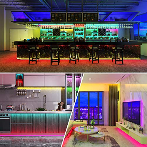 AOGUERBE Led Strip Lights 49.2FT//15M Music Sync Color Changing Light Strip with 44-Keys IR Remote Controller Flexible 5050 RGB LEDs Light Strips Kit for Home DIY Decoration- APP Controlled TV Party