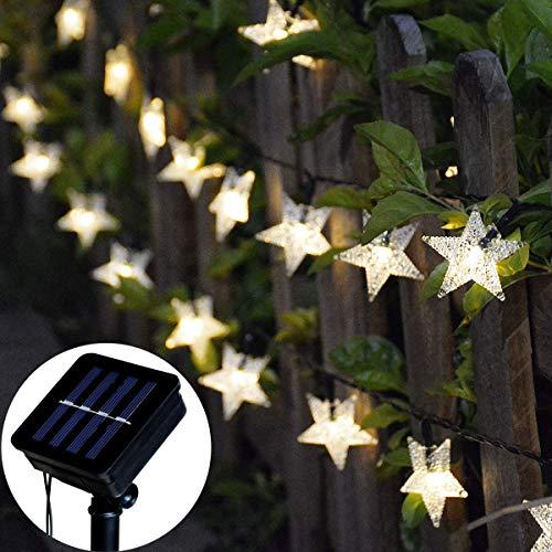 Tanouve Cadena Luces Solares, Guirnalda luces LED con 7M 50 Estrellas LED en Color Blanco Cálido Impermeable...