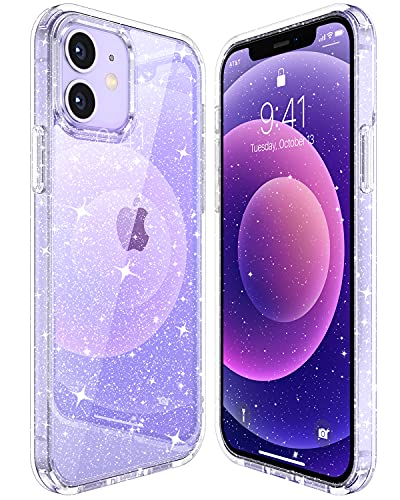 """CASEKOO Clear Glitter Case Designed for iPhone 12 Mini, [Yellow Resistance] Crystal & Sparkle Shockproof Drop Protection Case for Women & Girls (5.4"""") 2020 - Twinkle Stardust"""