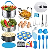 25 Pcs Accessories for Instant Pot 6 8 Qt, OCTTN Pressure Cooker Accessories Set Compatible with 6,8 Qt Instant Pot, Upgraded Steamer Baskets, Springform Pan, Stackable Egg Rack,Silicone Mold