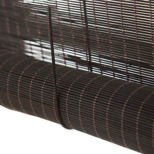 Persianas de Bambu Interior/Exterior Persianas Enrollables de Protección Solar, 60cm/80cm/100cm/120cm de Ancho Privacidad Bamboo Roller Shade, Negro (Color : W×H, Size : 80×180cm)