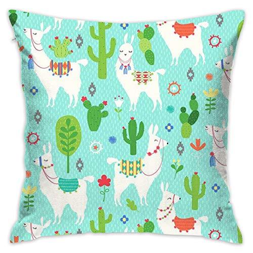 TERPASTRY Taie d'oreiller carrée décorative en Coton Doux pour l'extérieur Motif Llama et Cactus pour canapé, Chambre, Bureau, Voiture