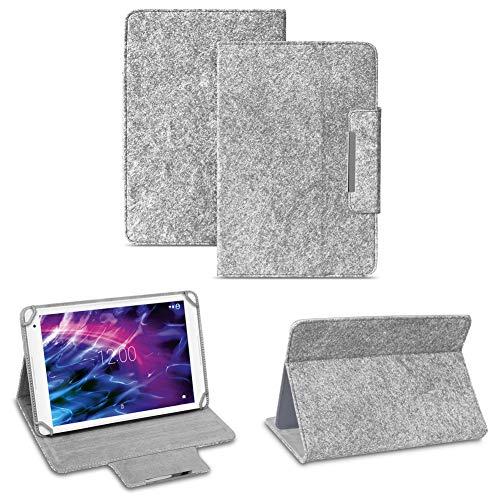 NAUC Filz Hülle für Ihr Medion Lifetab X10311 X10302 P10400 P10506 P10505 S10366 S10365 Tablet aus Filz Standfunktion Schutztasche Stand Tasche, Farben:Hell Grau