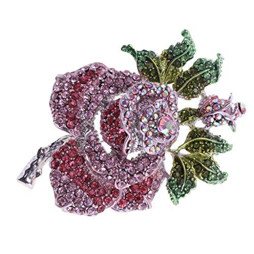joyMerit Broche de Estilo Vintage para Mujer, Rosa Púrpura, Flor, Diamantes de Imitación, Vestido, Joyería