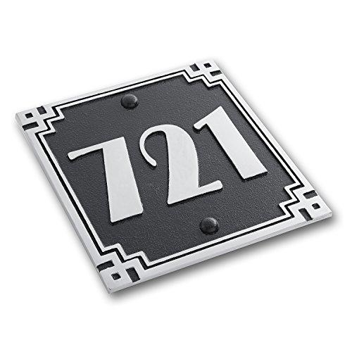 Plaque d'immatriculation de maison carrée en métal avec motif de la fonderie. Panneau d'adresse traditionnel en aluminium moulé avec options de chiffres et de lettres., Aluminium, Small 3 Number Max