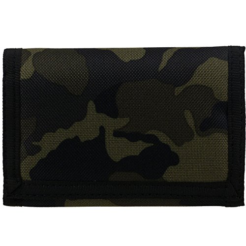 Mens Boys Camouflage Canvas Velcro Wallet Tri-Fold CAMO Slim...