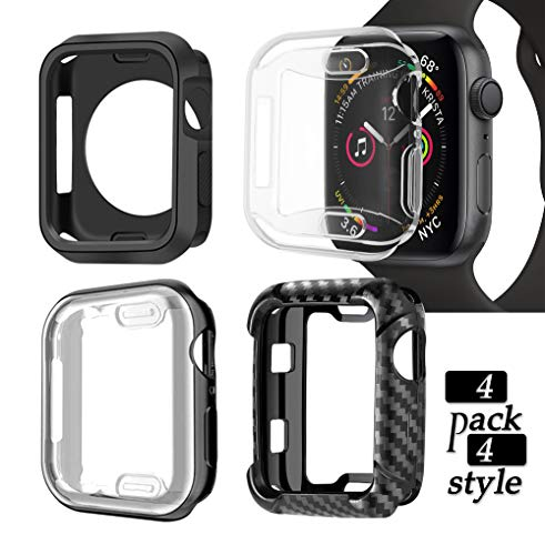 Compatible iWatch Apple Watch Cases 40mm Series 4/5/6 Full Coverage Screen Protector,Face Cover with Bling Rhinestone Bumper, Electroplated Soft TPU Shockproof ,4 Pack 4 Styles (4 Pack for Men, 40mm)