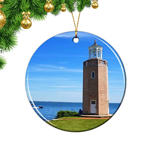 USA Groton CT Christmas Ornaments USA Groton Avery Point Light Connecticut Christmas Ornaments Ceramic Sheet Souvenir Travel Gift