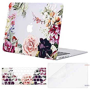 MOSISO Compatible with MacBook Air 11 inch Case  Models  A1370 & A1465  Plastic Rose Leaves Hard Shell Case & Keyboard Cover Skin & Screen Protector Transparent