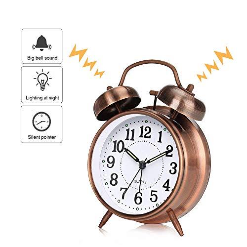 EROYAL Reloj Despertador Retro con Doble Campana,Despertador Retro de Metal,Despertador Vintage con luz Nocturna y Alarma,sin tictac, silencioso,batería,Unidad de Cuarzo (Brown)