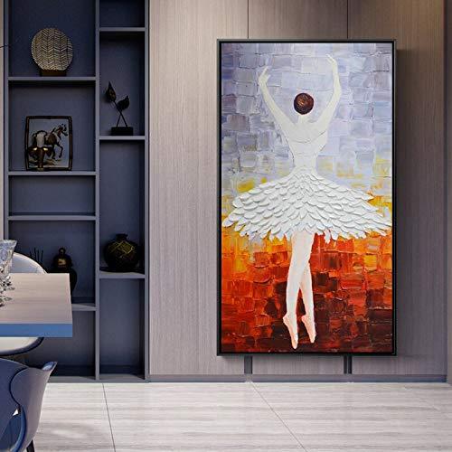 YuanMinglu Moderne abstrakte Kunstplakat und Leinwandwandkunstmalerei Ballerina-Hauptwanddekorationsmalerei rahmenloses Gemälde 40x80cm