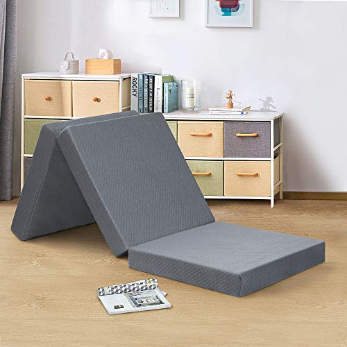 PrimaSleep 4 Inch Tri-Folding Topper, Single, Guest Bed, Sleepover, Dorm Room Bed, Floor Mat, Camping, Easy to Carry (Gray),