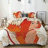 Juego de funda nórdica beige, mujer arquera con fondo de hojas arremolinadas, diseño de zodiaco de dibujos animados, juego de cama decorativo de 3 piezas con 2 fundas de almohada, fácil cuidado, antia