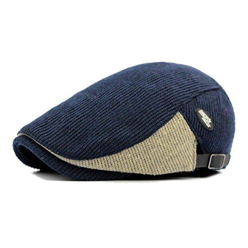 Anshili Hombres Casquillo Boinas Beret Sombreros para Invierno (Azul)