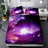 Starry Sky Series Ropa De Cama De Fibra De Poliéster para Adultos, Funda Nórdica Espacial Y Funda De Almohada Juego De 3 Piezas, Textiles para El Hogar De Una Y Dos Habitaciones