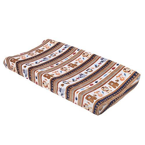 NoJo Aztec Forest Super Soft Changing Pad Cover, Navy, Tan, Orange, Light Blue