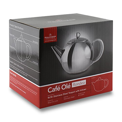 Café Ole Rondeo Stainless Steel Tea Pot Easy Pour Teapot with Infuser Basket 17oz 500ml