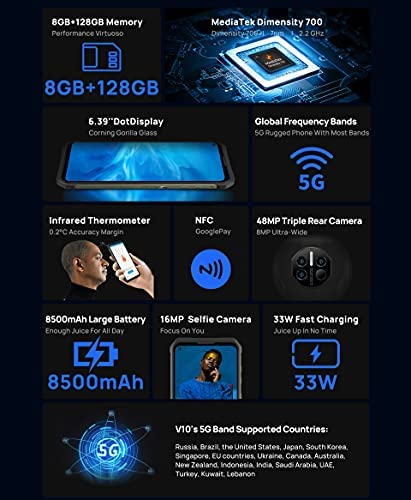 """DOOGEE V10 5G Smartphone 8500mAh battery 6.39 """"Screen 33W Quick Charge 48MP Rear camera Android 11 mobile phone (Classic black)"""