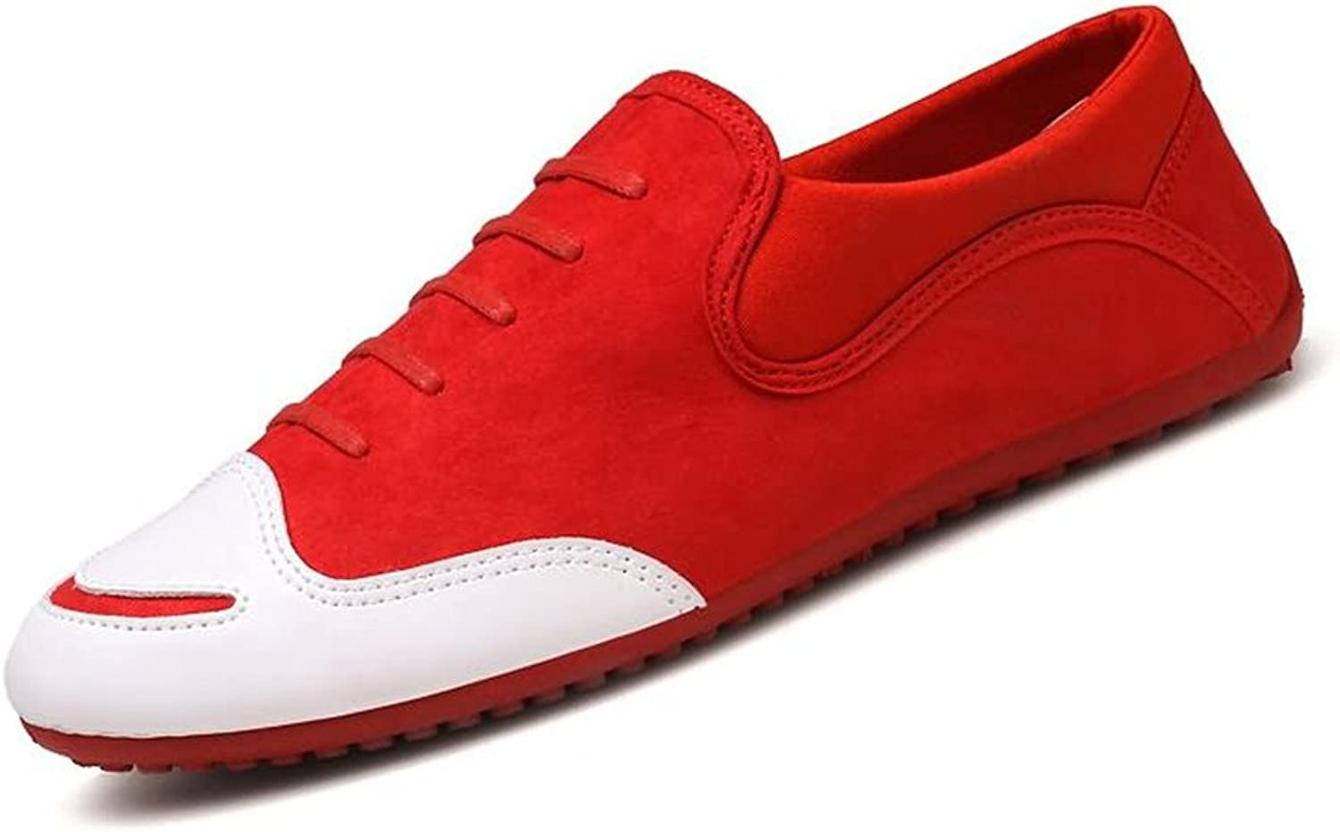 CHENDX shoes, Men's Fashion design Round toe Loafer Flat Heel Solid color Slip On shoes (color   Red, Size   8.5 UK)