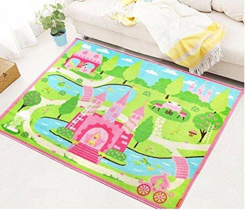 GRENSS Rosa Fee Teppiche und Teppichböden für Mädchen Wohnzimmer Bett Fußmatte Soft Umwelt Rutschfeste Feuchtigkeitsdichter Spielen Kriechen Mat