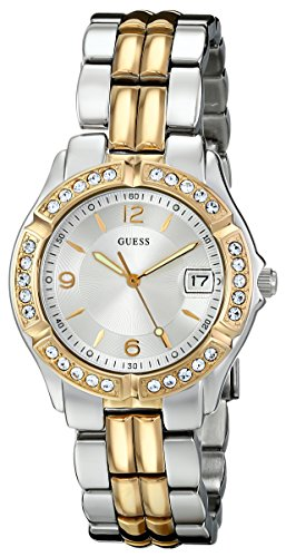 GUESS Silver + Gold-Tone Bracelet Watch with Date Feature. Color: Silver/Gold-Tone (Model: U0026L1)