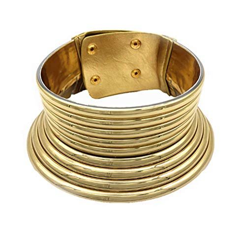 Aijian African Jewelry Statement Chokers Egypt Gold Tone Choker Women Chunky Leather Collar Necklace (A-Gold)