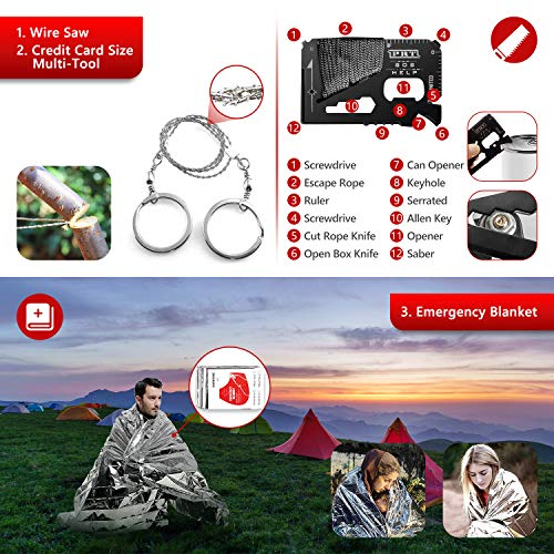 Survival Kit,15 in 1 Emergency Survival Kit and Equipment Tools, Professional Survival Gear for Camping, Hiking. Adventure Outdoors Sport. Creative &Cool Birthday Gifts for Men.