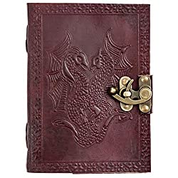 Red Genuine Leather Journal With Two Entwined Dragons On The Cover