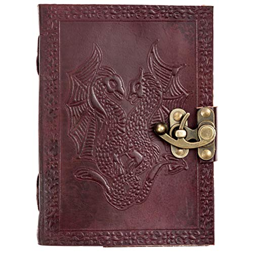 CARVEx Leather Journal Dragon Handmade Writing Notebook 7 x 5 Inches Unlined Paper, Brown Antique Leather Bound Daily Diary Notepad for Men & Women Gift