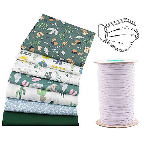 Gobesty Patchwork stof katoen, 7 stks 40 * 50cm verschillende patroon Patchwork stof ambacht + 146 m elastische band voor doe-het-zelf ambachtelijke Quilting Scrapbooking naaien