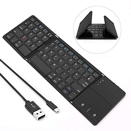 Folding Bluetooth Keyboard, Jelly Comb Rechargeable USB Wired &...