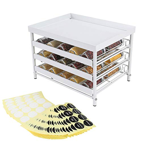 TQVAI 3-Tier Spice Jar Rack Stackable Spices Organizer with Pull Out Drawers and Labels, Hold up to 30 Jars, Fit for Countertop, Cabinet, Pantry, White