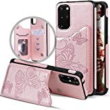 Samsung S20 Plus Case Wallet,Galaxy S20+ Case with Card Holder,Vodico Slim Protective Embossed Butterfly Leather Flip Folio Magnetic Closure Full Body Stand Phone Cover for Women/Girls (Rose Gold)