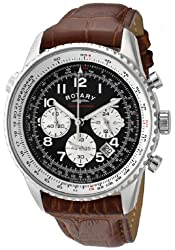 Chronograph Stainless Steel Brown Leather Strap Black Dial