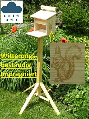 Qualität aus Niederbayern ARBRIKADREX XXXL Echhörnchen Kobel/Futterhaus hochwertigem Vollholz, niederbayerisches Qualitätsprodukt vom Schreiner, Imprägniert (Futterhaus imprägniert mit Ständer)