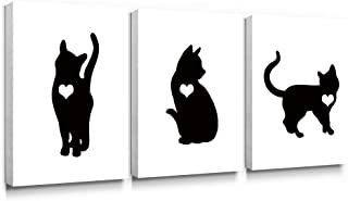 Gronda Animal Canvas Wall Art Black Cat Painting Frame Artwork Home Decor Ready to Hang for Living Room Bedroom Bathroom 12×16Inch,3 Panels