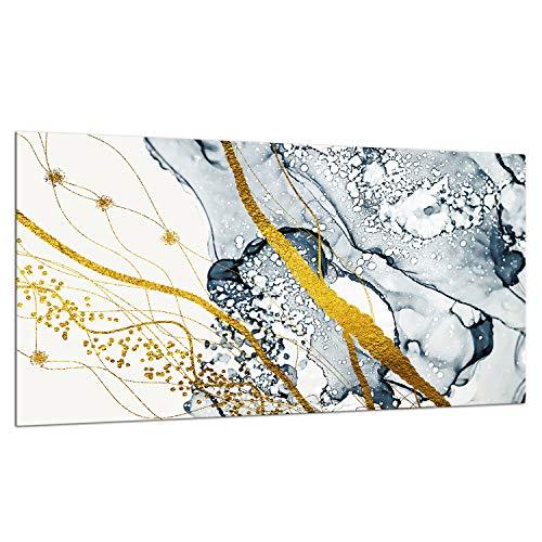 TMK - Placa protectora de vitrocerámica 90 x 52 cm 1 pieza cocina eléctrica universal para inducción, protección contra salpicaduras tabla de cortar de vidrio templado como decoración, marmol