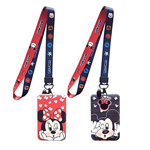 Mickey & Minnie Lanyard with Kleiner Anhänger, 2 Stück Schlüsselband Umhängeband, Beidseitigem Vollfarbigem Druck, Lanyard Personalienhülle, Lanyard mit Soft Touch Dangle