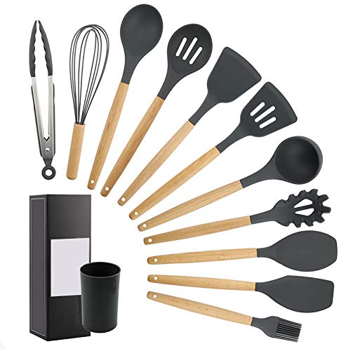 Yannn 11 Sets Silicone Cooking Soup Spoon Spatula Brush Scraper Pasta Server Egg Beater Non-Stick Kitchen Cooking Tools Kitchenware