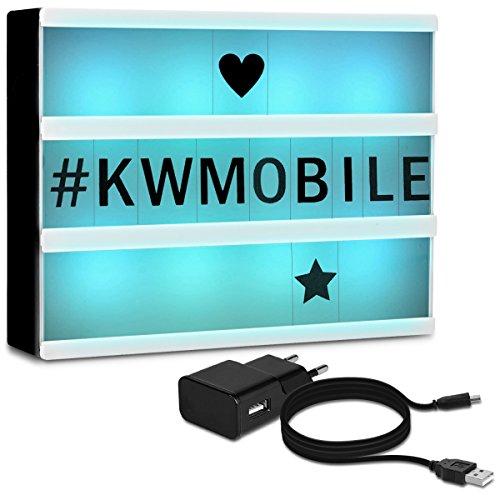 kwmobile caja de luz LED A5 de color cambiante - 7 colores 126 letras negras - fuente de alimentación USB