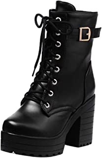 ELEEMEE Women Ankle Boots Lace Up Chunky Heel Platform