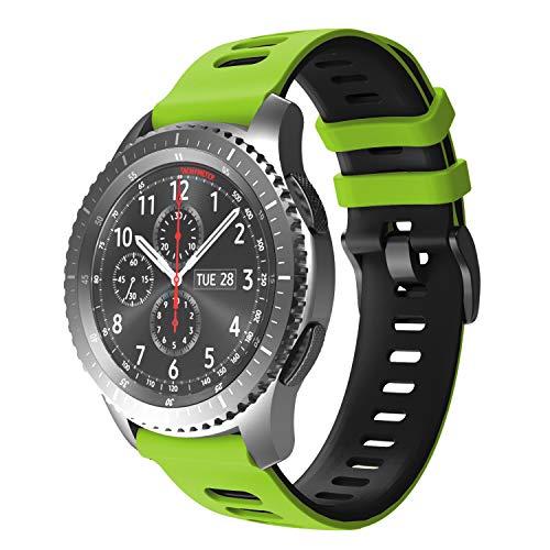NotoCity Armband für Samsung Galaxy Watch 46mm/Gear S3 Frontier/Gear S3 Classic/Huawei Watch GT 2 /Huawei Watch GT/Sport/Active/Classic, 22mm Quick-Fit Ersatz Uhrenarmbänder (Schwarz-Grün)