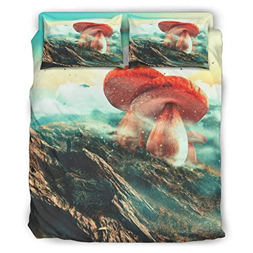 Wandlovers Juego de ropa de cama de 4 piezas Fantasy con estampado de montaña y seta para todo el año, funda de edredón y fundas de almohada, color blanco, 228 x 228 cm