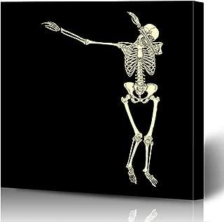 Ahawoso Canvas Prints Wall Art Printing 16x16 Anatomy Human Skeleton Posing Dab Perform Trend Dabbing People Sports Recreation Black Body Bones Painting Artwork Home Living Room Office Bedroom Dorm